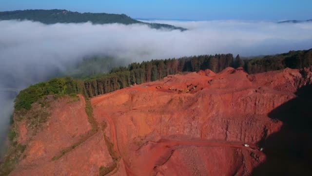 aerial view of a quarry, saar valley, rhineland-palatinate, germany, europe - miniera video stock e b–roll