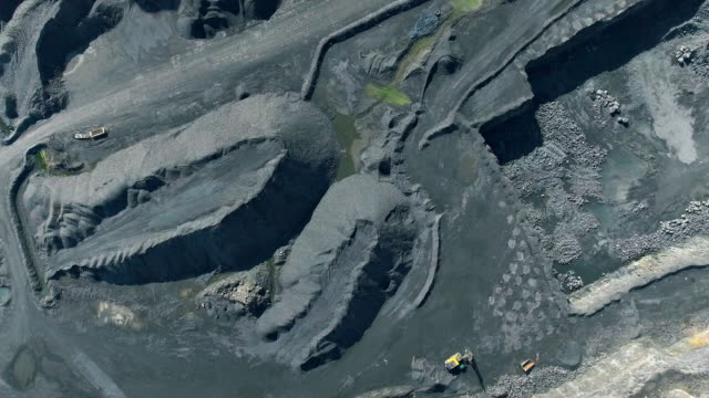 aerial view of a quarry - coal mine stock videos & royalty-free footage