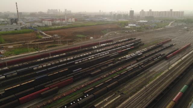 aerial view of a railway shunting yard - 操車場点の映像素材/bロール
