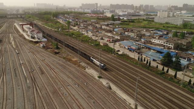 aerial view of a railway shunting yard - 線路のポイント点の映像素材/bロール
