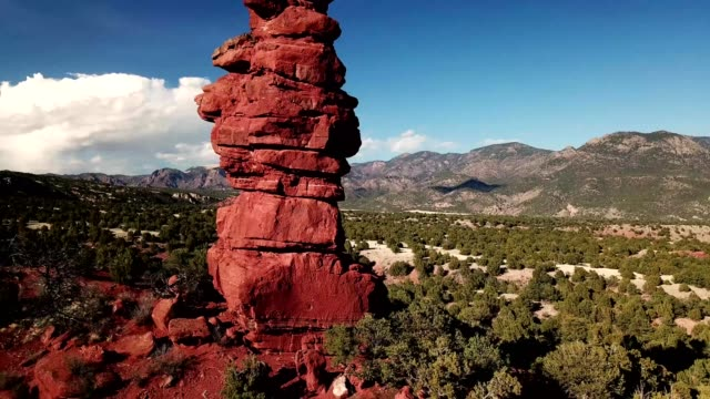 Aerial view of a red rock chimney in Canon City Colorado