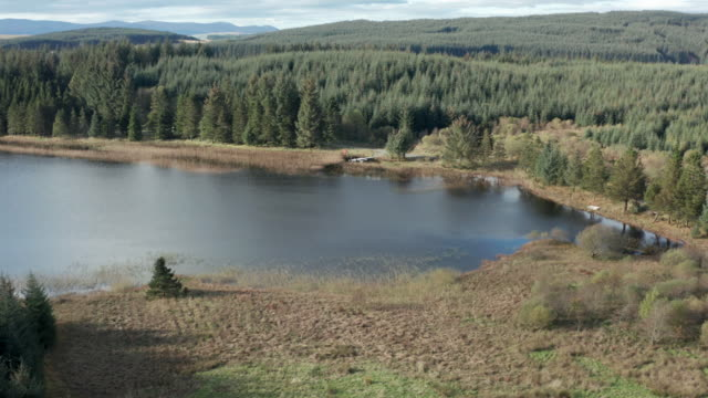 aerial view of a remote scottish loch in south west scotland - galloway scotland stock videos & royalty-free footage