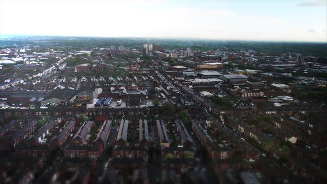 aerial view of a residential district in the wirral - aircraft point of view stock videos & royalty-free footage