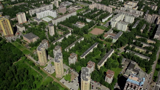 Aerial view of a residential district of the city / Russia, Saint Petersburg