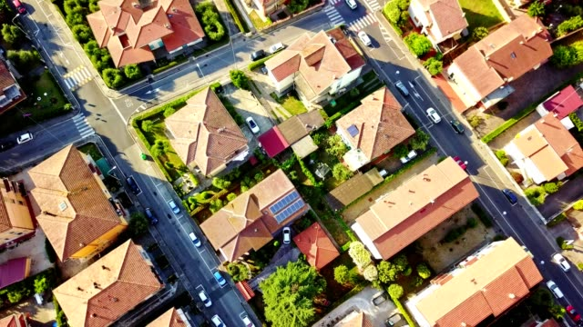 aerial view of a residential district