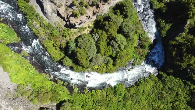 aerial view of a river in conguillio national park - rapid stock videos & royalty-free footage