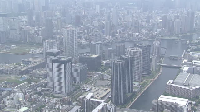 Aerial View Of A Riverside In Tokyo