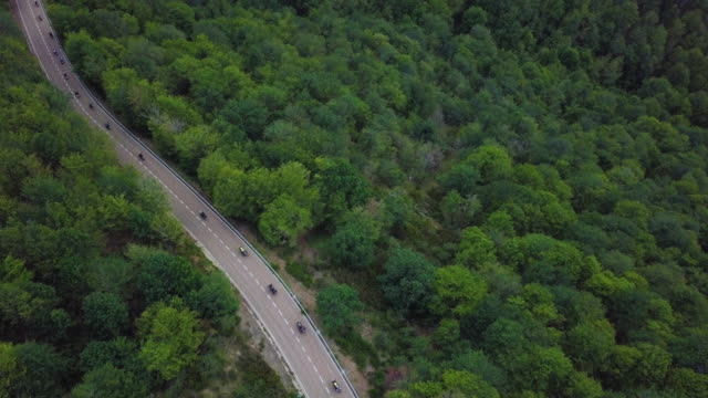 Aerial view of a road and motorcycles riding in the forest