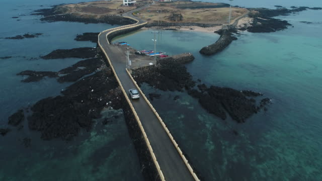 Aerial view of a road to Biyangdo Island(Travel Destination)