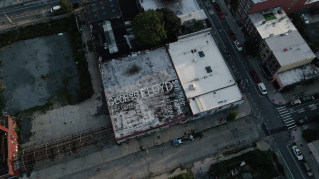 aerial view of a rooftop mural in brooklyn, new york city - social justice concept stock videos & royalty-free footage