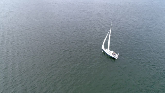 aerial view of a sailboat in stockholm archipelago - baltic sea stock videos and b-roll footage