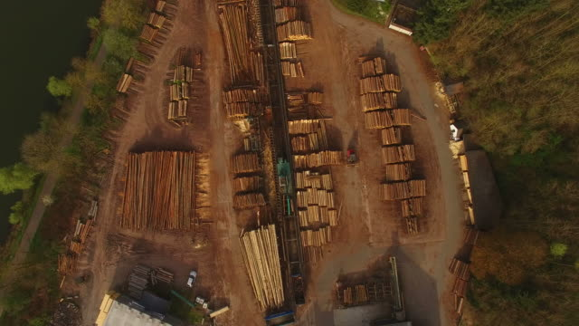 aerial view of a sawmill - timber yard stock videos & royalty-free footage