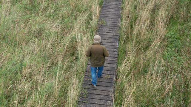 aerial view of a senior man walking on a boardwalk in scottish countryside - galloway scotland stock videos & royalty-free footage