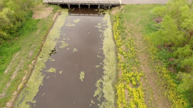 aerial view of a small bridge over a swamp in westwego louisiana - louisiana video stock e b–roll