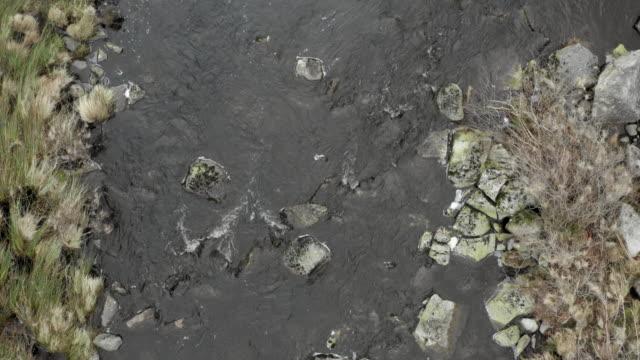 vídeos y material grabado en eventos de stock de vista aérea de un pequeño río en la zona rural de dumfries y galloway, al suroeste de escocia - johnfscott