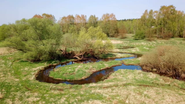 aerial view of a small river - brandenburg state stock videos & royalty-free footage