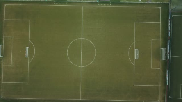 aerial view of a soccer field - football pitch stock videos & royalty-free footage
