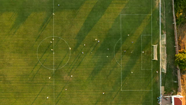 aerial view of a soccer match - strategy stock videos & royalty-free footage