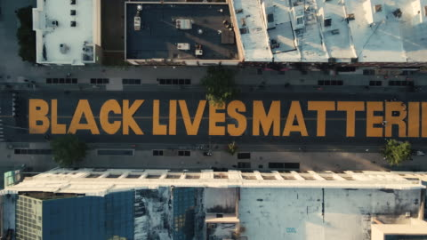 aerial view of a street mural in new york city - social justice concept stock videos & royalty-free footage