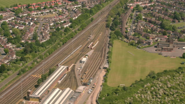 Aerial View of a Suburban Housing Estate and Railway in Sunshine. 4K