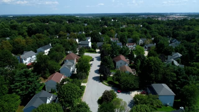 aerial view of a suburban neighborhood in columbia maryland - suburban stock videos & royalty-free footage