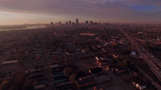 Aerial view of a sunrise from the 7th ward overlooking downtown New Orleans Louisiana skyline