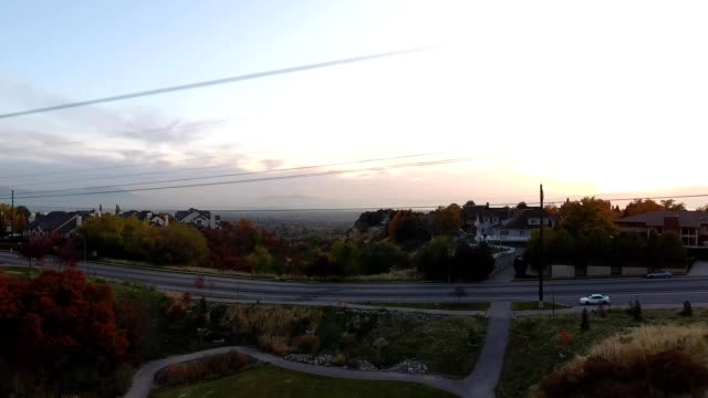 aerial view of a sunset over the valley of provo utah - provo stock videos & royalty-free footage