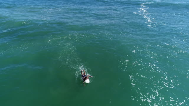 aerial view of a surfer in the ocean - seascape stock videos & royalty-free footage