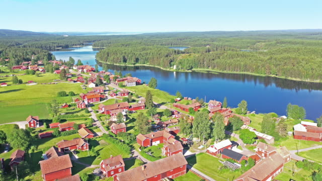 aerial view of a swedish village in summer - swedish culture stock videos & royalty-free footage