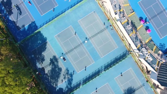 aerial view of a tennis courts in china - tennis stock videos & royalty-free footage