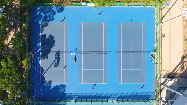 aerial view of a tennis courts in china - court stock videos & royalty-free footage
