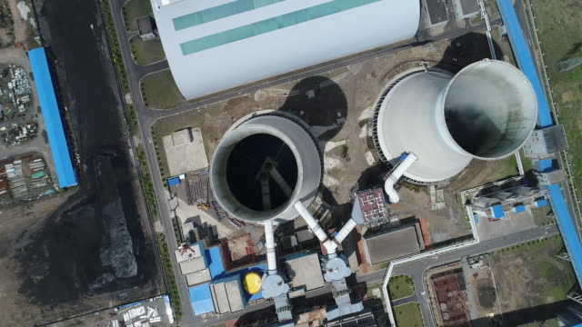 aerial view of a thermal power plant on may 19 2017 in harbin china - 発電所点の映像素材/bロール