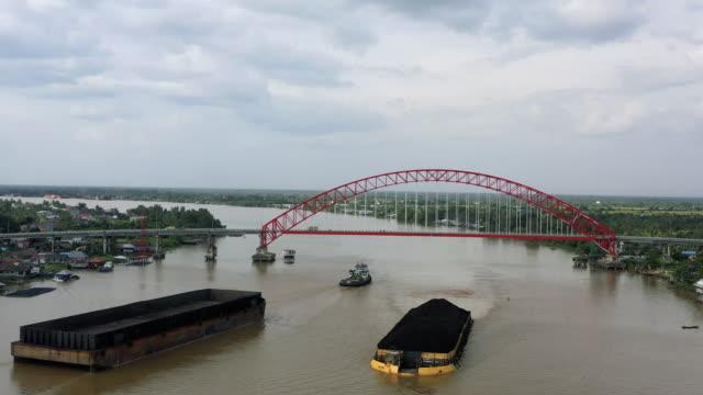 aerial view of a through arch bridge - arch bridge stock videos & royalty-free footage