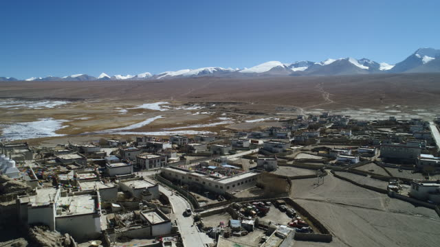 aerial view of a tibetan village - traditionally tibetan stock videos & royalty-free footage