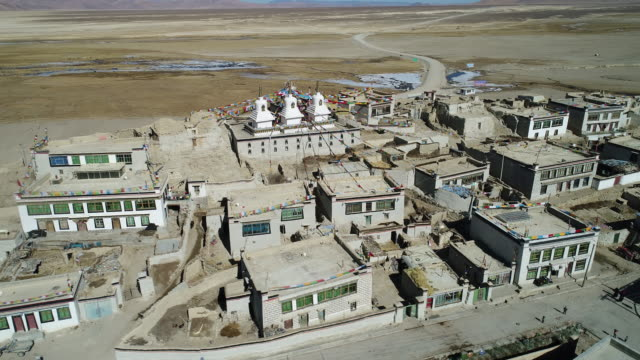 Aerial view of a Tibetan village