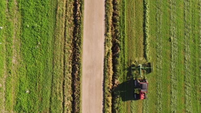 vídeos de stock, filmes e b-roll de aerial view of a tractor - finlândia