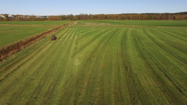 aerial view of a tractor - harvesting stock videos & royalty-free footage