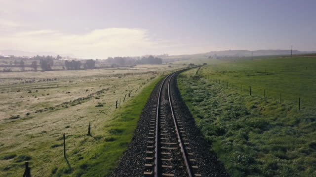 aerial view of a train track in the countryside - treno video stock e b–roll