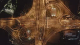 Aerial view of a Unique City Roads and Interchanges, Bangkok Expressway top view