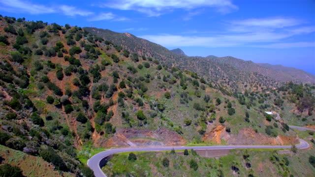 Aerial View of a valley near by village Vallehermoso on La Gomera in the province of Santa Cruz de Tenerife - Spain