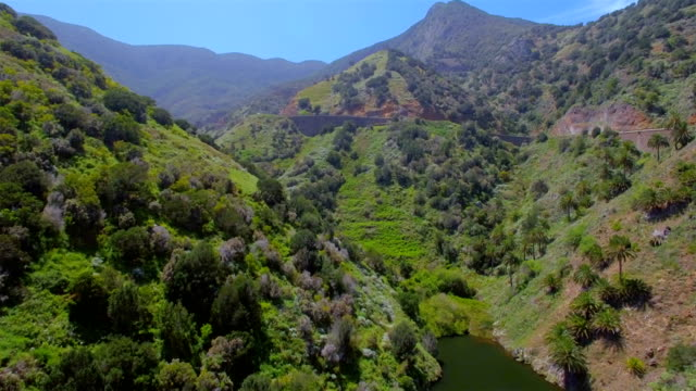 Aerial View of a valley with artificial lake near by village Vallehermoso on La Gomera in the province of Santa Cruz de Tenerife - Spain