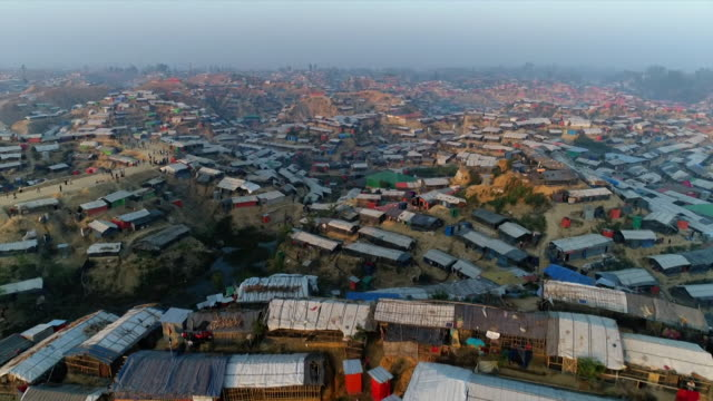 Aerial view of a vast refugee camp in Cox's Bazar Bangladesh