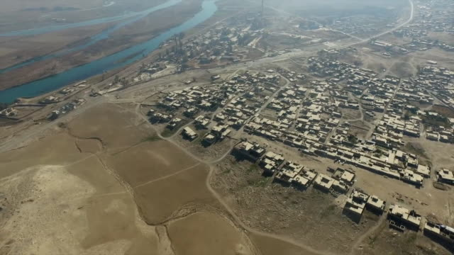 Aerial view of a village close to western Mosul