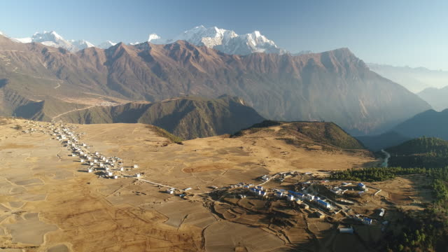 Aerial View of A Village in Tibet