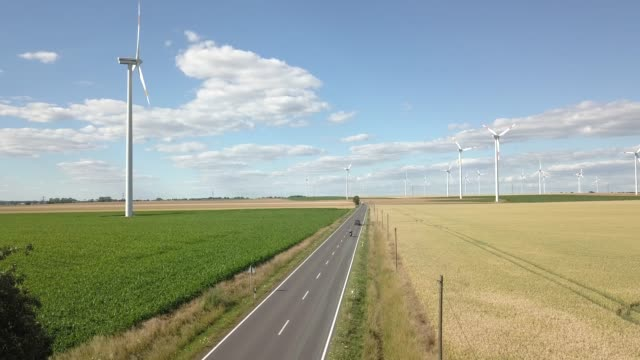 Aerial view of a wind turbine Park in Saxony-Anhalt Germany