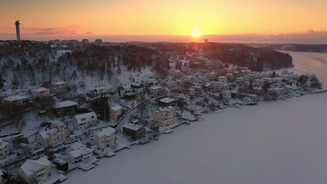 aerial view of a winter sunset in stockholm - real estate stock videos & royalty-free footage