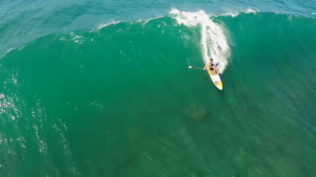aerial view of a wipeout sup stand-up paddleboard surfing in hawaii. - tripping falling stock videos and b-roll footage