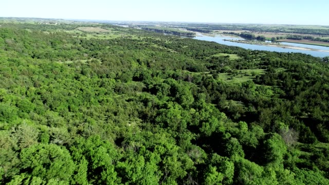 aerial view of a wooded valley near the missouri river in niobrara nebraska - south dakota stock videos and b-roll footage