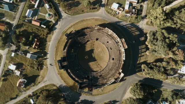 aerial view of abandoned bullring, plaza de toros real de san carlos - amphitheatre stock videos & royalty-free footage