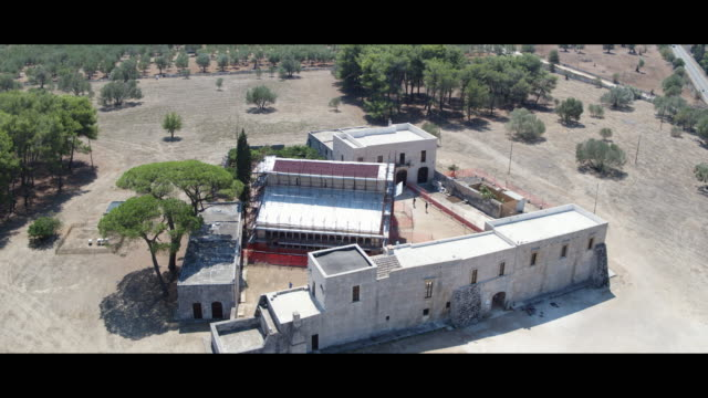 aerial view of abbey of santa maria di cerrate in lecce italy on august 20 2017 - abbey stock videos & royalty-free footage